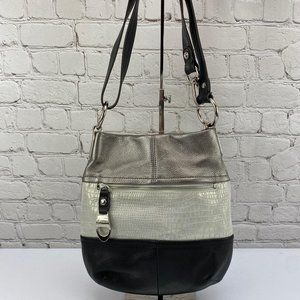 B. Makowsky Crossbody Tri-Tone Leather Bag